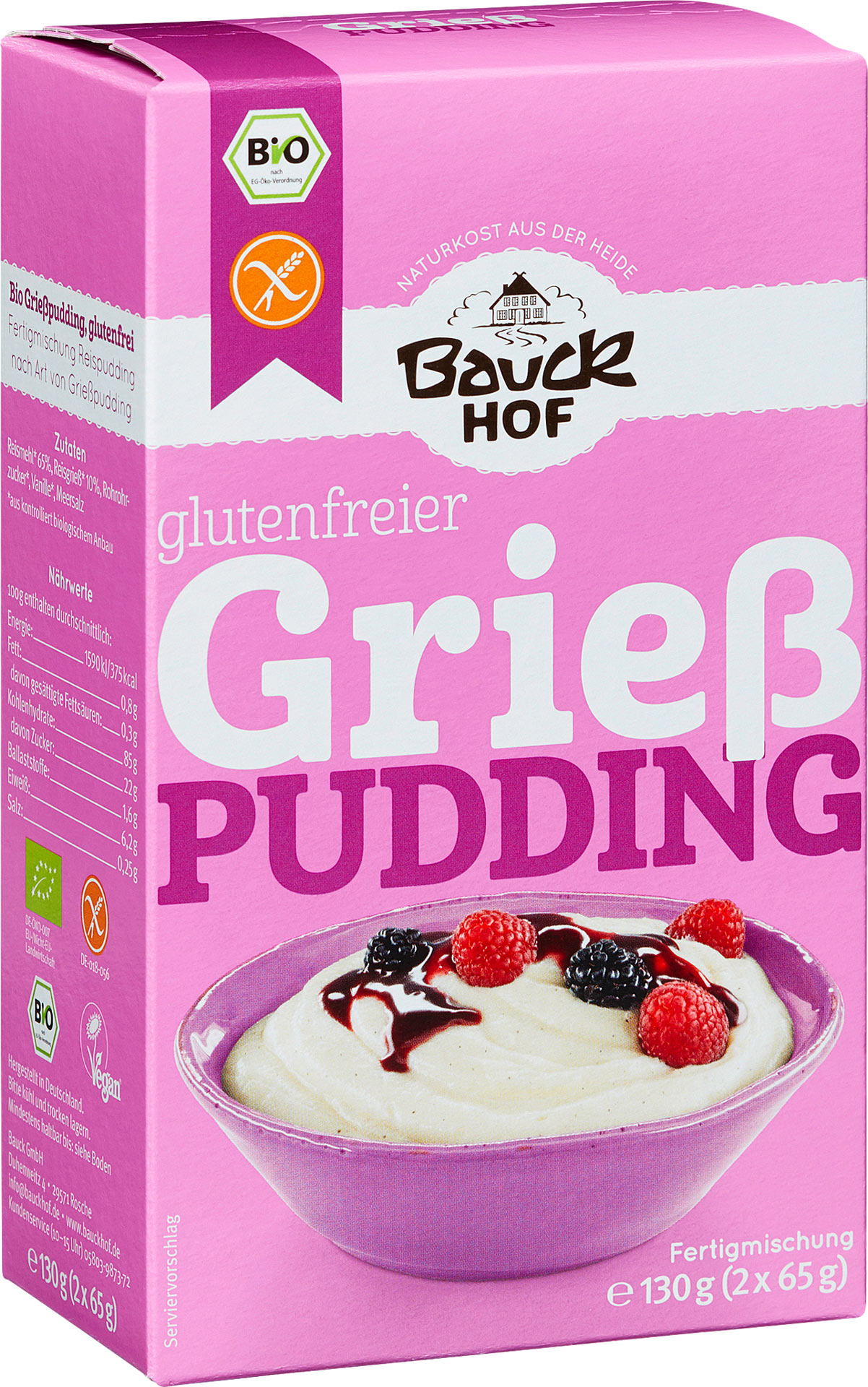 bauck bio grie pudding reispudding glutenfrei 130g online kaufen bei lieferello. Black Bedroom Furniture Sets. Home Design Ideas