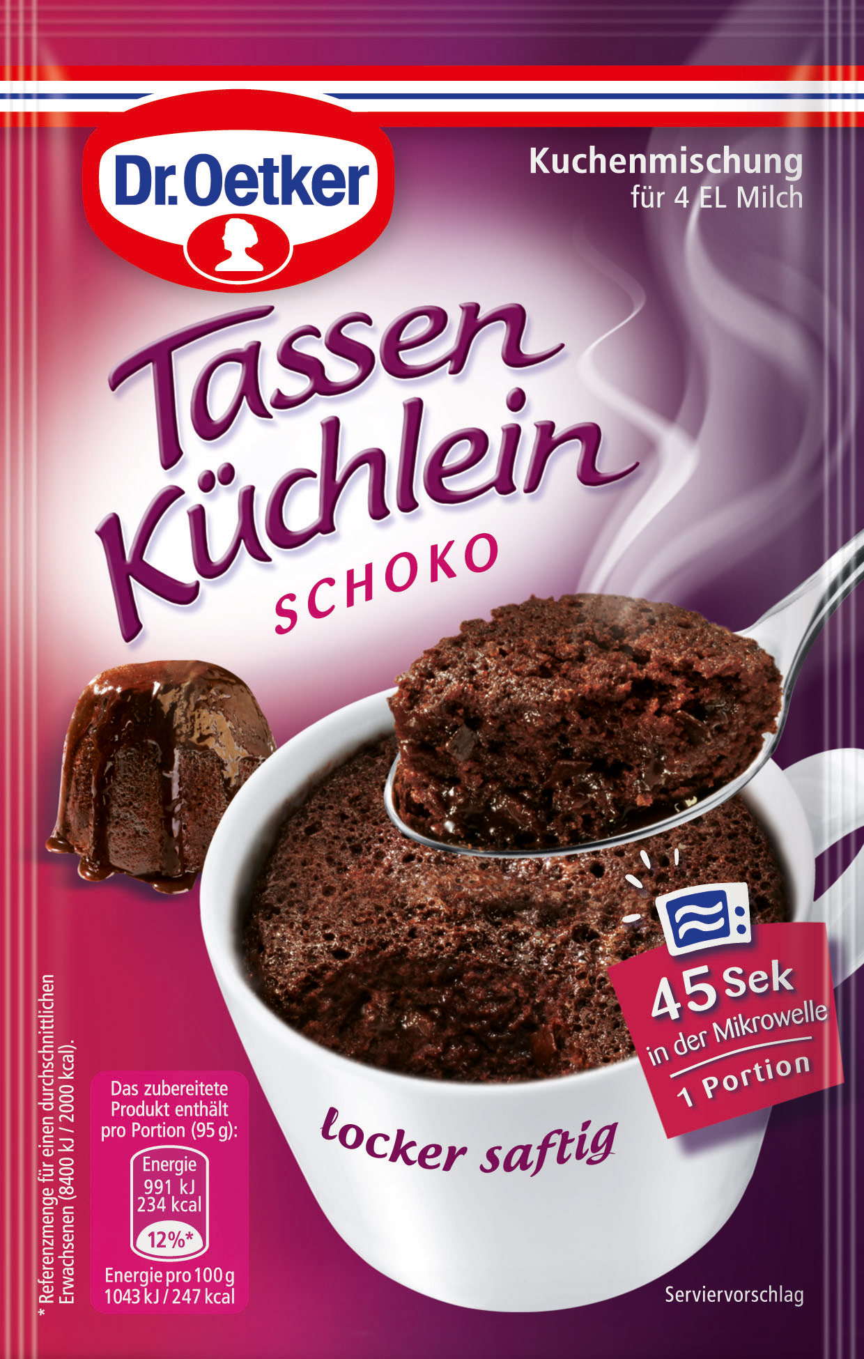 dr oetker tassen k chlein schoko kuchenmischung 55g online kaufen bei lieferello. Black Bedroom Furniture Sets. Home Design Ideas